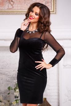 Вечернее бархатное платье с сетчатым рукавом Angela Ricci