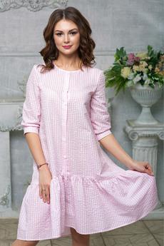 Розовое платье в клетку Look Russian